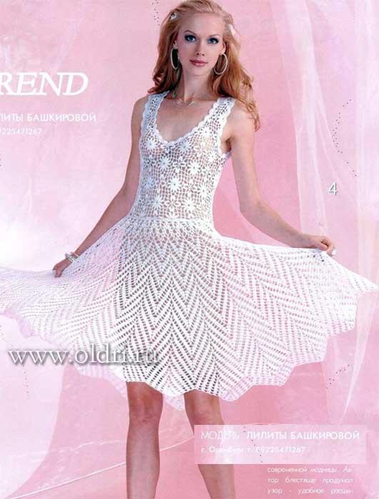 Белое вязаное платье крючком схемы