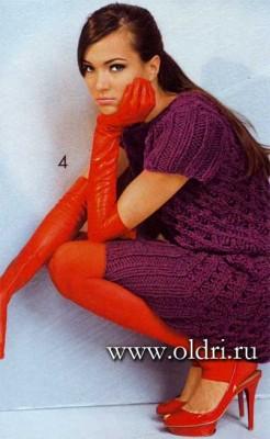 Бордовое вязаное платье с ромбами - фото, схема и описание