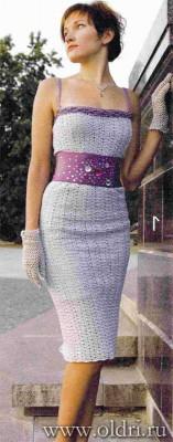 Серебряное платье связанное крючком