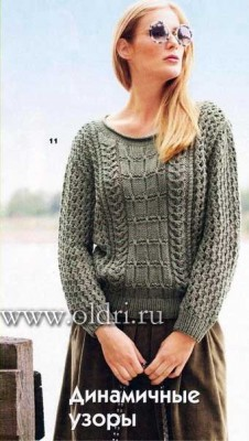 Узорчатый пуловер спицами для женщин