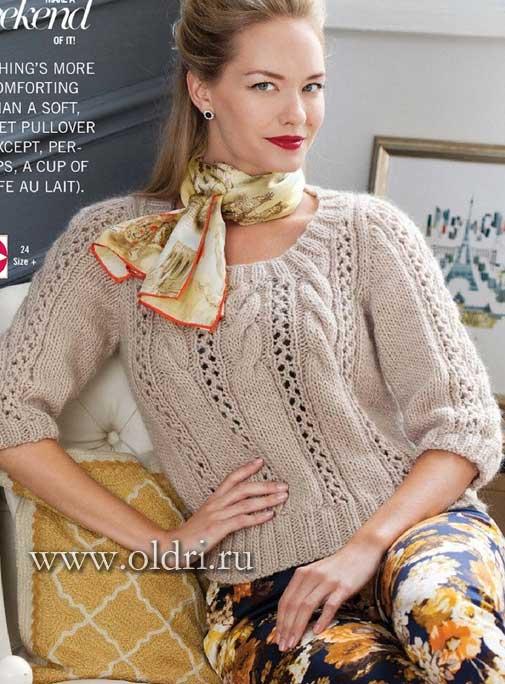 Пуловер женский со схемами спицами
