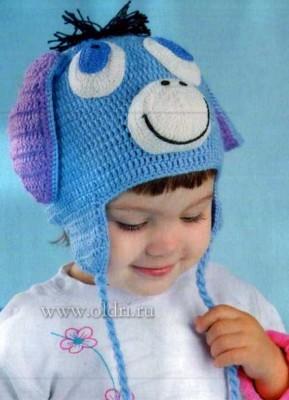 Детская вязаная шапочка Ослик