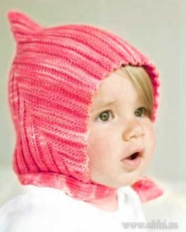 Детская вязаная шапочка спицами для новорожденного