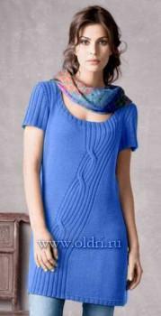Вязание платья с диагональной косой