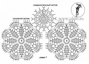 Схема вязания крючком цветочных мотивов